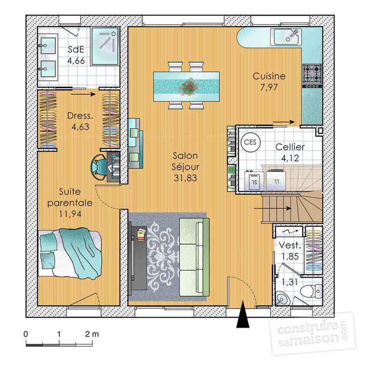 Les 25 meilleures id es de la cat gorie plan maison 100m2 for Plan de salon de maison
