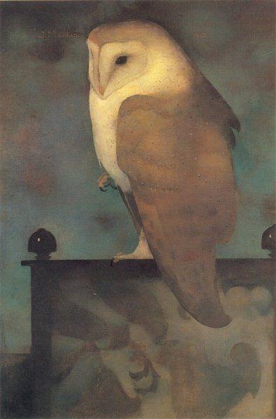 Jan Mankes 1889-1920; Large owl on display 1913; oil on canvas