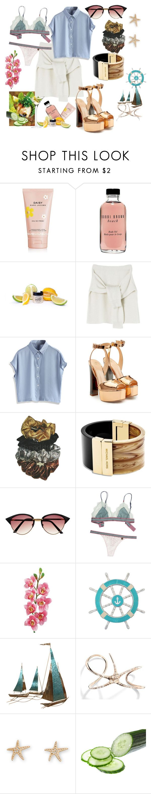 """Let's go yachting!"" by p0llyinurpocket ❤ liked on Polyvore featuring Marc Jacobs, Bobbi Brown Cosmetics, BUFF, Chicwish, Giuseppe Zanotti, Threddies, Michael Kors, Laura Cole, Stratton Home Décor and Cristina Ortiz"