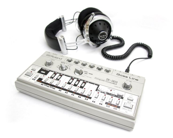 Hosiden headphones from the late 1970's connected to the legendary Roland TB-303 transistorized bass synth.