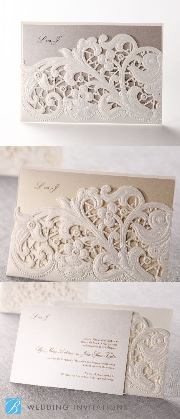 Laser Cut Floral Pocket by B Wedding Invitations