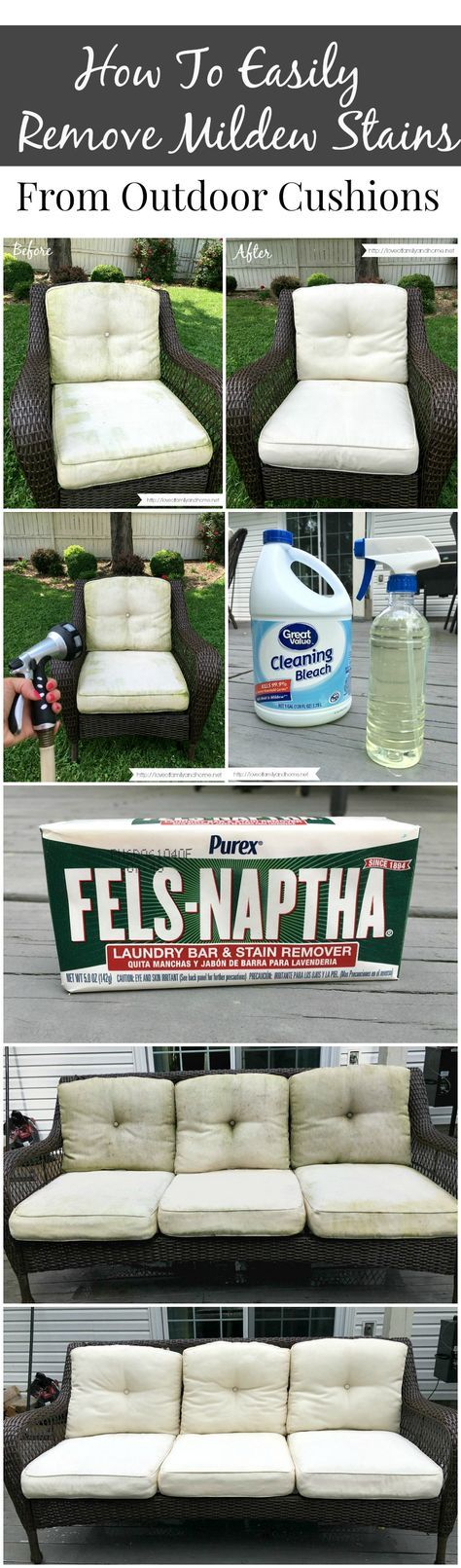 Easily Remove Mildew Stains from Outdoor Cushions: Spray solution of 75% bleach and 25% water onto the mildewed spots. Waited about 10 minutes and then spray them again. Next, take a bar of Fels Naptha soap and rub it all over the cushions and rub and scrubbed with a scrub brush.