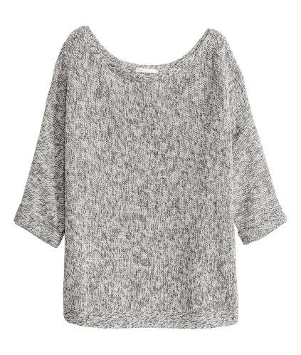 Beige marl. Purl-knit jumper in a cotton blend with 3/4-length sleeves with sewn-in turn-ups.