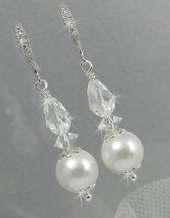 Simple Pearl Earrings Bridal earrings Wedding Jewelry by CrystalAvenues, $30.00
