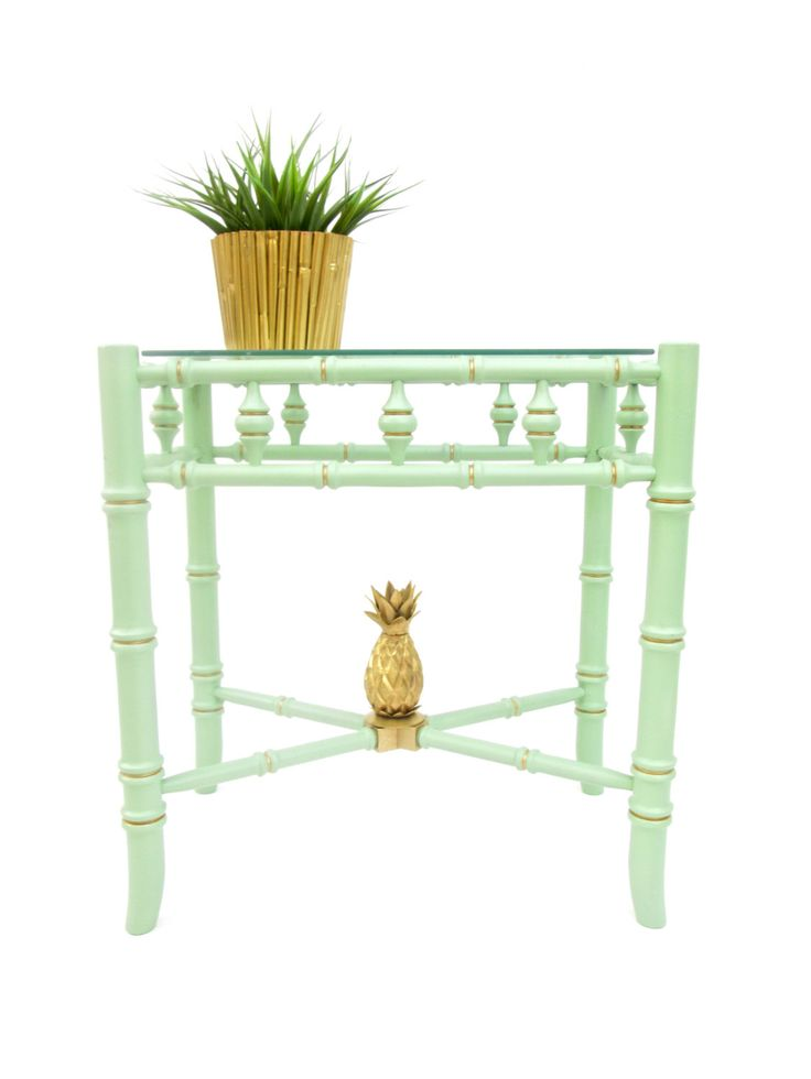 Vintage Faux Bamboo Jade Green & Gold Accent Table by ElectricMarigold on Etsy