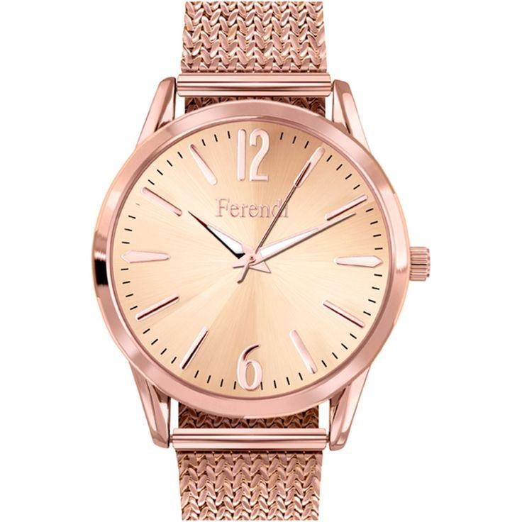Γυναικείο ρολόι από τη σειρά Nerti της Ferendi με λουράκι και κάσα από ανθεκτικό μέταλλο ροζ επιχρυσωμένο.