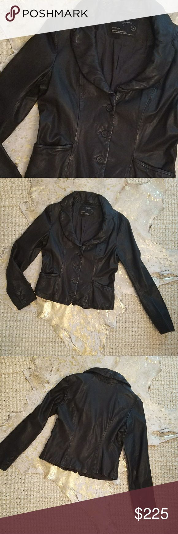 Allsaints Ayala Leather Jacket This jacket is tailored beautifully! It's cut more like a blazer, very flattering! Goes with everything! The color is black but sometimes in the right light looks very dark brown.  UK Size 14 - US Size 10  Excellent Condition: the leather was recently cleaned and conditioned. I'm happy to answer any questions or provide additional photos! Sorry No Trades. All Saints Jackets & Coats