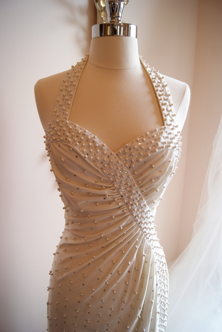 Wedding Dress / Vintage 1970s Designer White Wedding Gown Halter Neck with pearls and sequins? Yes please.