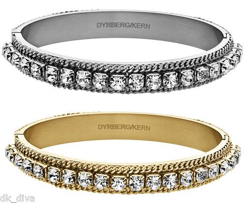 Dyrberg/Kern CHRYSTANIA stainless steel bracelet with Swarovski crystals and chain detail
