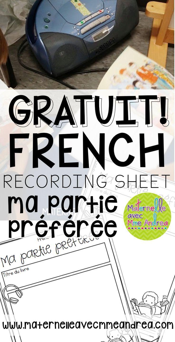 FREE French recording sheet for your « écouter un livre » centre   centre d'écoute   centres d'apprentissage   ma partie préférée   maternelle