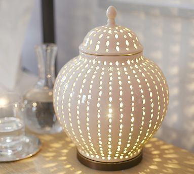 Perforated Ceramic Jar Accent Table Lamp Potterybarn