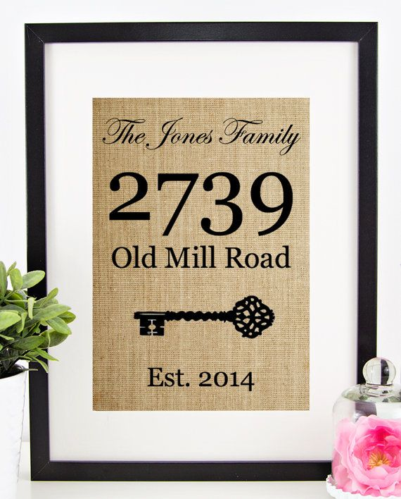 This handmade burlap print is the perfect gift for new homeowners! Or display it in your own home to complement rustic home decor! This personalized