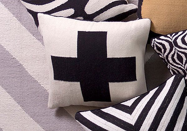 Beautiful Fabric Patten In Pillows Design : Interesting Plus Sign Pillow From Jonathan Adler As Modern Sitting Space Under Contemporary House