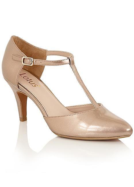 Lotus Metallic Court Shoes #Kaleidoscope #Classy #Shoes #KittenHeels #Cream