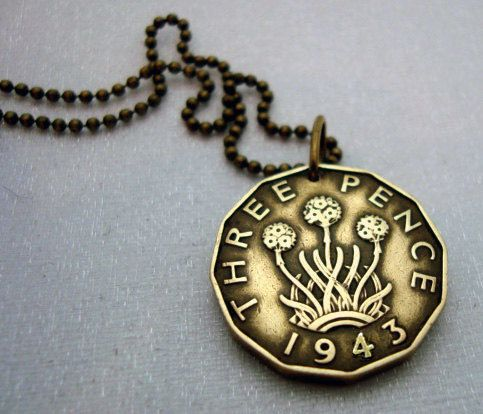 Coin Jewelry - Antique British 3 pence COIN NECKLACE - thrift plant - thistle - English - Scottish - bronze coin - bronze chain