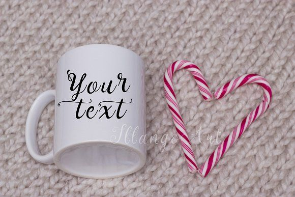 Mug mockup with candy heart by IllangoArt on @creativemarket