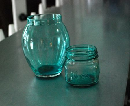 Tinted Mason Jars, etc.: How to tint your own jars to avoid the cost of genuine vintage ones!: Blue Mason Jars, Crafts Ideas, Canning Jars, Dyes Glasses, Blue Jars, Tinted Mason Jars, Genuine Vintage, Glasses Jars, Colors Glasses