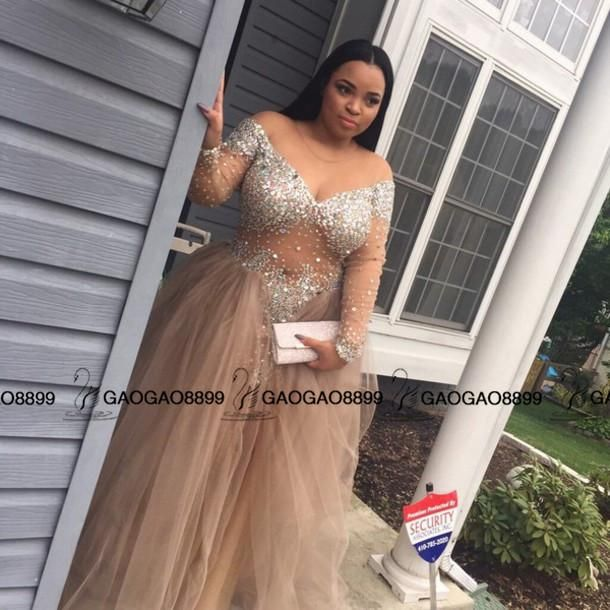 c5fc2950a46 champange Sequined Plus Size long sleeve Prom Dresses A Line Pleats Cheap  Party evening Formal Gowns Long Sparkling Vestido Formatura