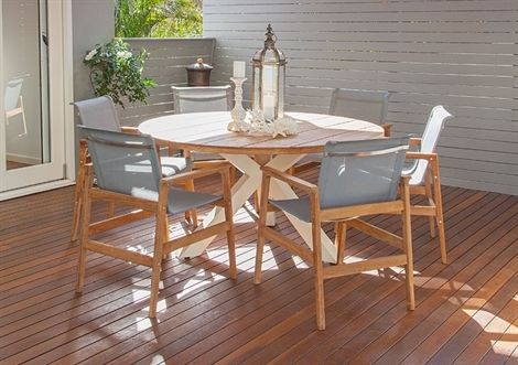 7pce Beauville 1.5m & Lux Setting Teak/Shell/Steel