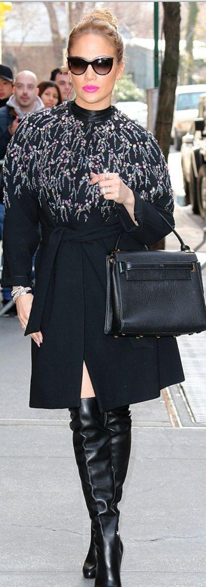 Jennifer Lopez in Coat – Jenny Packham  Purse – Valentino  Shoes – Christian Louboutin