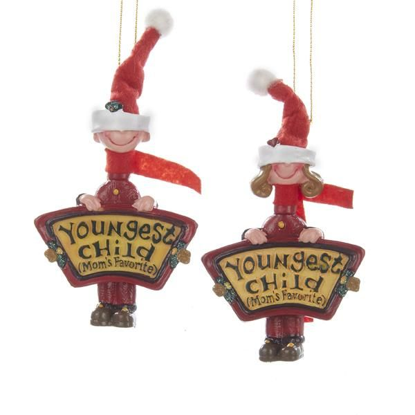 """Mom's Favorite """"Youngest Child"""" Ornaments"""