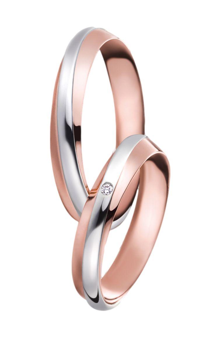 Snubní prsteny P2547 v kombinaci bílého a červeného zlata. Dámský prsten zdoben briliantem.