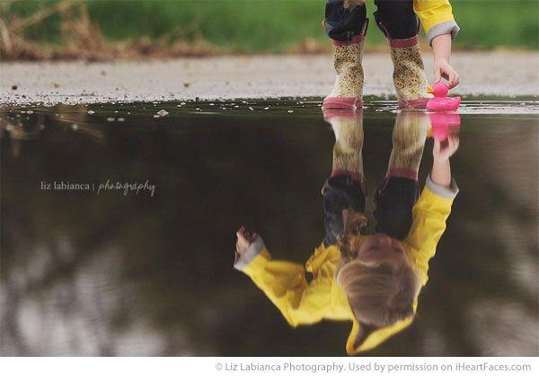 Love that puddle picture! Spring Photo Session Ideas - Portrait Photography by Liz Labianca Photography via iHeartFaces.com