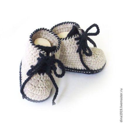 Для новорожденных, ручной работы. Ярмарка Мастеров - ручная работа пинетки для мальчика, пинетки ботиночки, бежевый, теплые пинетки. Handmade.