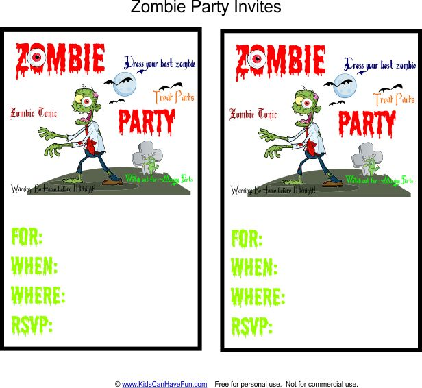 Zombie Party Invites