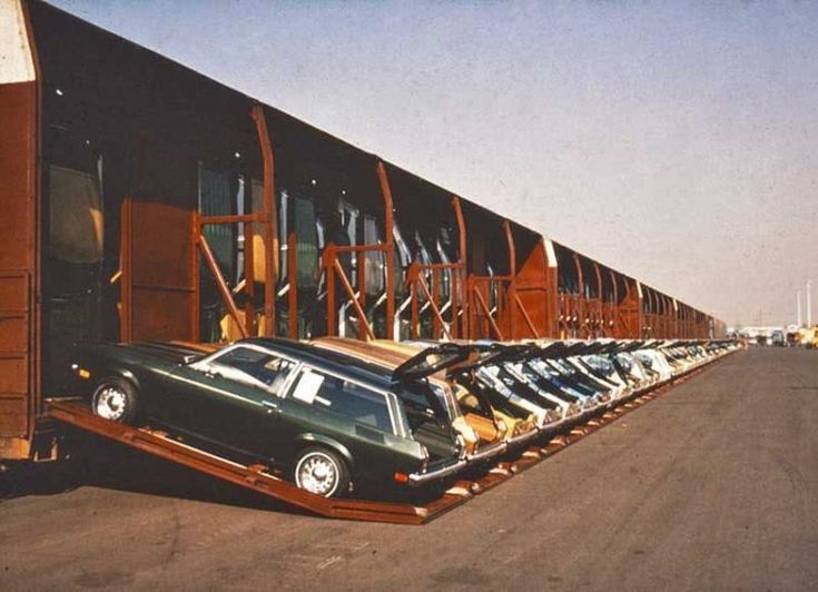 The maximum a boxcar would hold was 15, so General Motors and the Pacific Southern Railroad decided to design their own vertical packaging boxcars called Vert-A-Pac that could vertically carry up to 30 cars at a time, reducing transport charges per vehicle by 40%. #ChevroletVega #ClassicCars #Transport