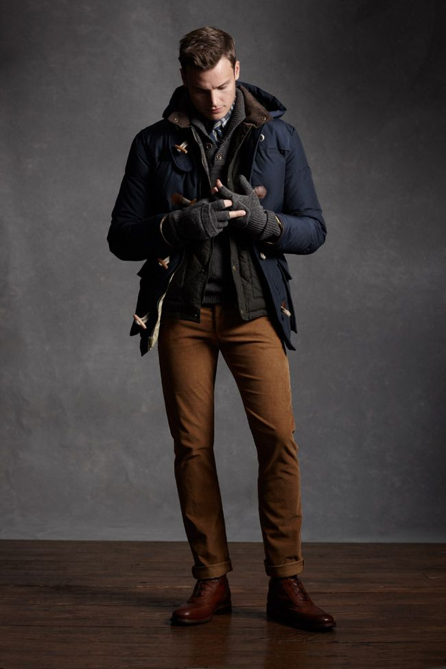 Layered mens winter/fall look, navy coat, black quilted jacket, grey sweater, grey gloves, brown pants; yay!