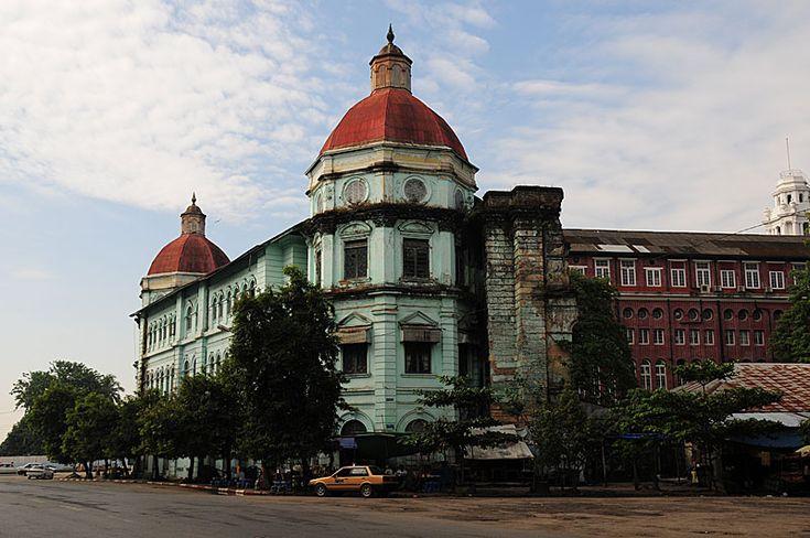 yangon city myanmar a colonial building in downtown