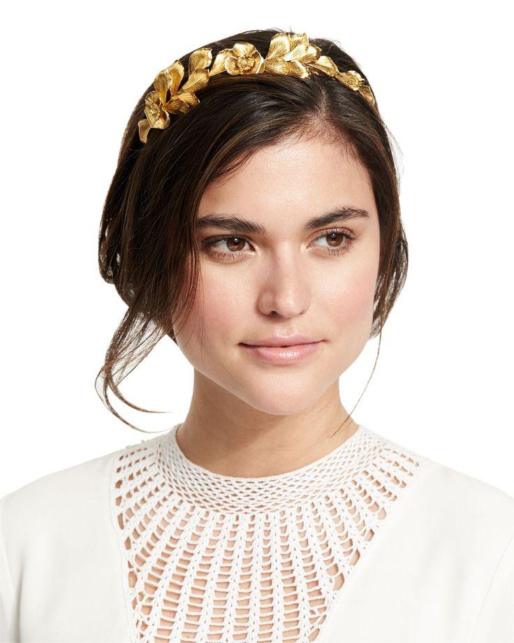 Flower Petal Metal Headband, Gold - Jennifer Behr