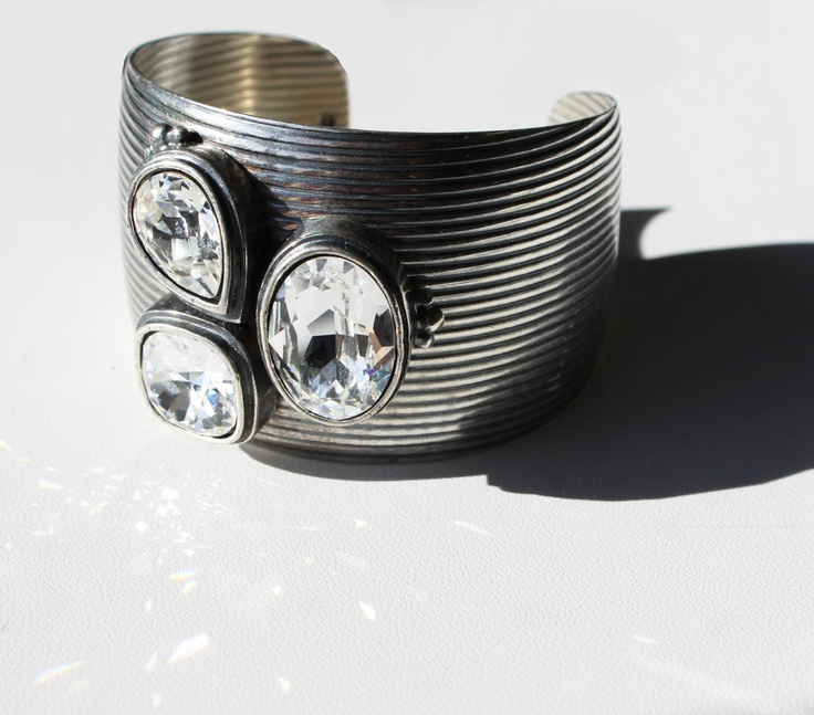 Bold and textured burnished silver cuff encrusted with Swarovski Crystals (B1155)