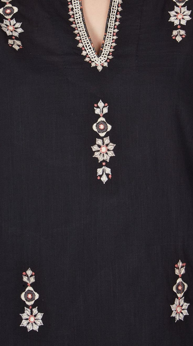 Black Short Kurti in signature Ritu Kumar Print