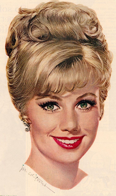 SHIRLEY JONES illustration (detail) by JON WHITCOMB for Lustre-Creme Shampoo. Ladies Home Journal Nov 1963. (minkshmink)
