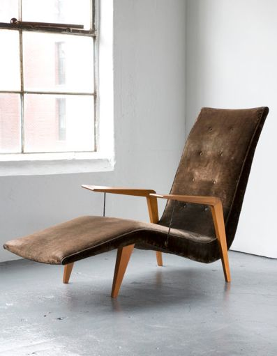 lounger by Joaquim Tenreiro, 1950s, caviona wood with upholstered seat, Designed  for a private commission in the Flamengo neighborhood of Rio de Janeiro, Brazil.