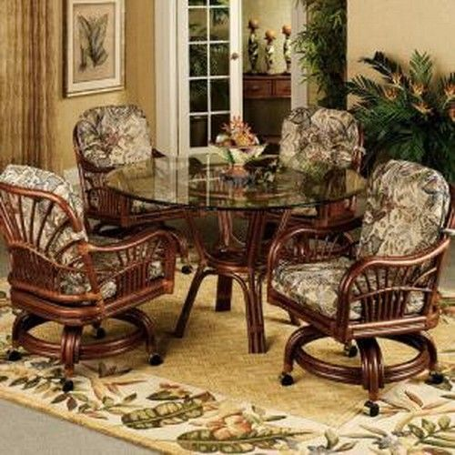 Wicker Dining Chairs With Casters Sun Room Pinterest
