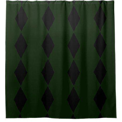 Black Diamond Green Shower Curtain - shower curtains home decor custom idea personalize bathroom