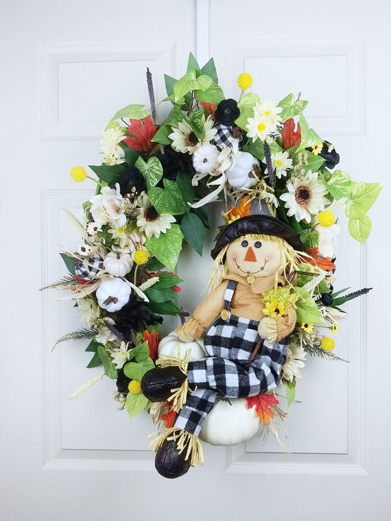 Pin By Just Crafting About On Support Small Business Wreath Decor Scarecrow Wreath Wreath Stand