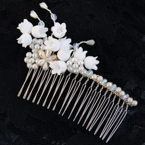 Lily of the Valley Crystal Hair Comb using DECO Soft Clay