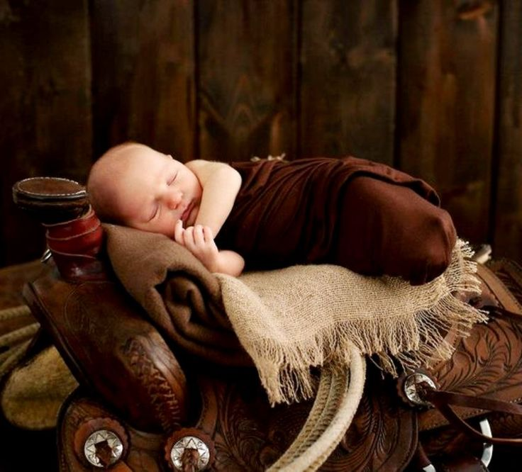 Newborn baby boy horse saddle