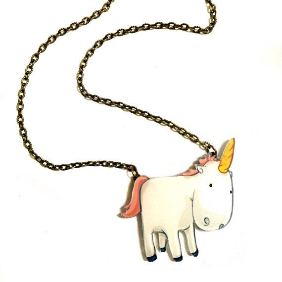 Cute Unicorn Humor Funny & Cool Statement Necklace by XenaStyle