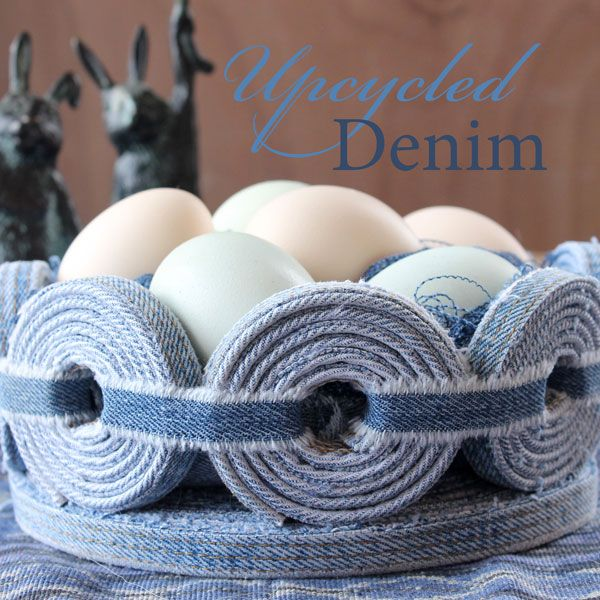 DIY: Upcycled No Sew Denim Basket - The Renegade Seamstress, this lady is so inspirational and creative!  This is a must-do project for me!