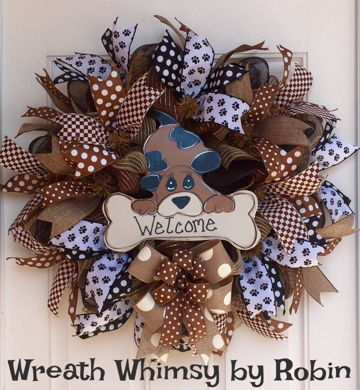 Dog Lover Deco Mesh Welcome Wreath, Groomer Gift, Veterinarian Gift, Dog Decor, Front Door Wreath, All Season Wreath, Animal Lover Gift by WreathWhimsybyRobin on Etsy