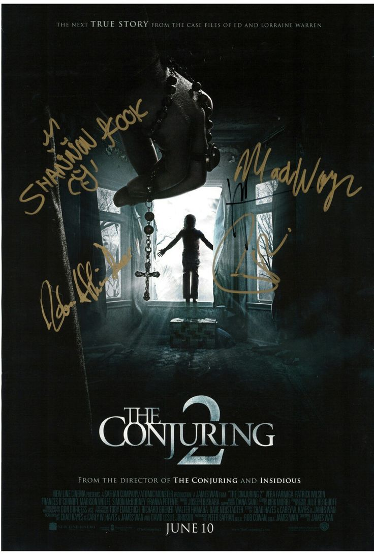 The Conjuring 2 mini poster signed by Vera Farmiga,Patrick Wilson,Madison Wolfe.Shannon Kook