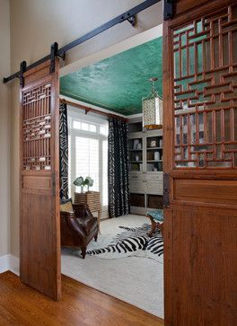 asian barn doors atlanta chic home office atlanta jennifer reynolds interiors - Home Decor Designs