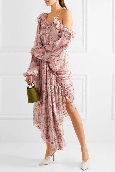 Preen by Thornton Bregazzi | Erchard gerüschtes Kleid mit asymmetrischer Schulterpartie aus einer Seidenmischung mit Fil Coupé | NET-A-PORTER.COM