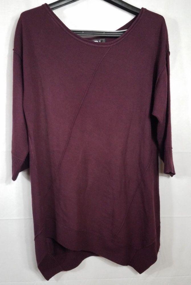 89th And Madison Womens Plum Asymmetrical Hem Sweater Xl Fashion