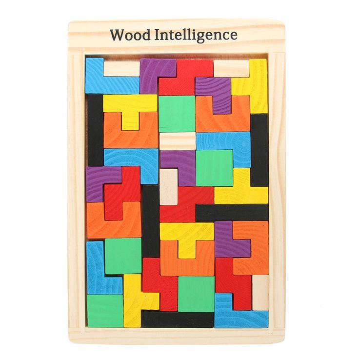熱い!子供木製パズルおもちゃtangram頭の体操パズルおもちゃテトリスゲーム教育子供ジグソーパズルボードおもちゃギフト